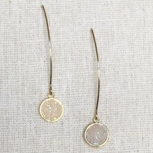 Pull Through drop White Druzy Dangle Earrings